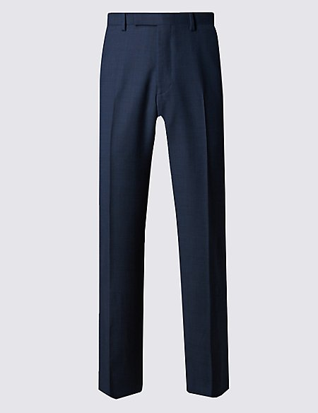 Pure New Wool Tailored Fit Supercrease™ Prince of Wales Check Trousers with Buttonsafe™