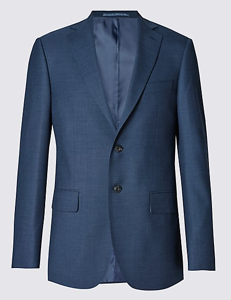 Big & Tall Blue Regular Fit Wool Jacket