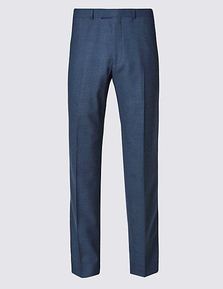 Big & Tall Blue Regular Fit Wool Trousers