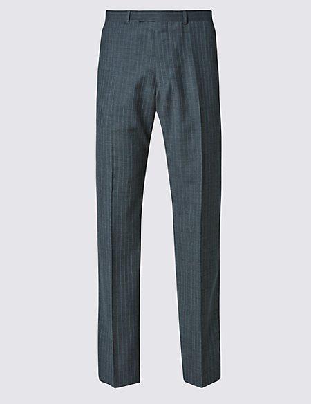 Grey Regular Fit Wool Trousers