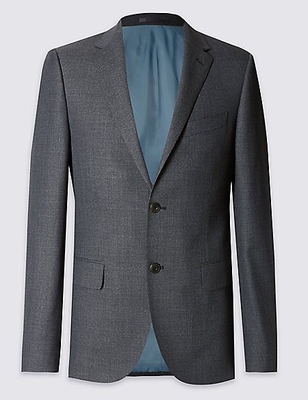 Big & Tall Pure Wool Tailored Fit 2 Button Jacket with Buttonsafe™