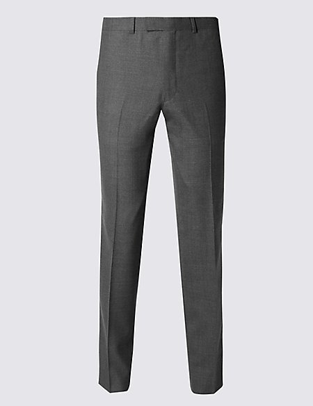 Pure New Wool Tailored Fit Supercrease™ Flat Front Trousers with Buttonsafe™