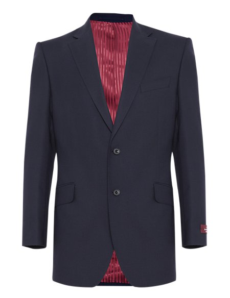 Navy Regular Fit Single Breasted Jacket