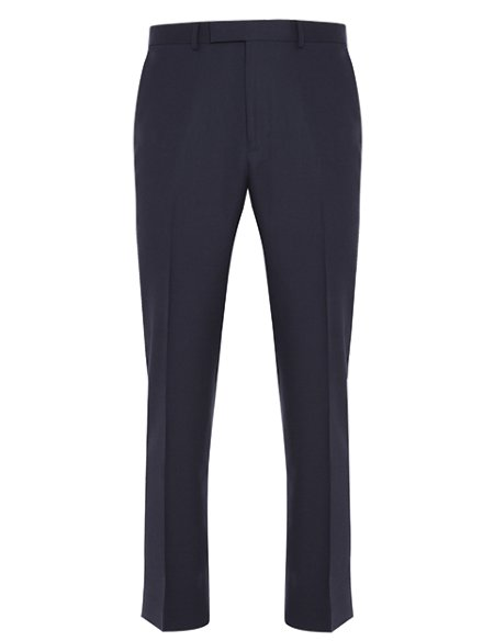 Navy Regular Fit Flat Front Trousers