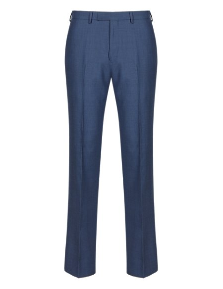 Blue Checked Tailored Fit Wool Trousers