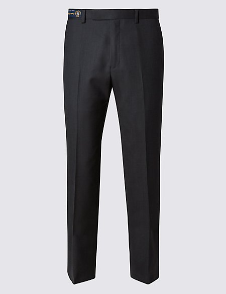 Grey Tailored Fit Wool Trousers