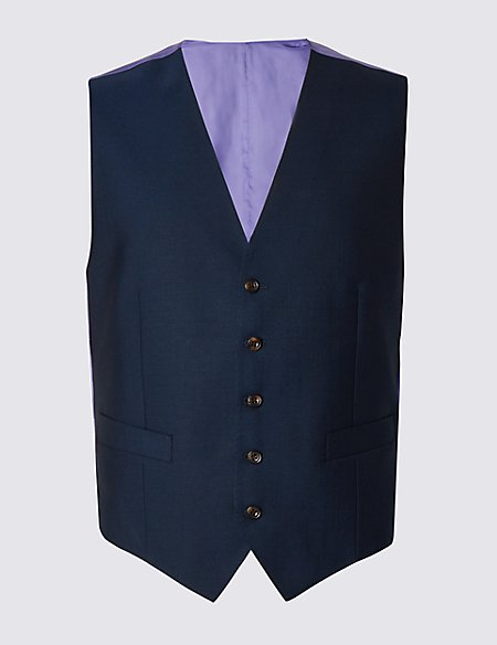 Pure New Wool Tailored Fit 5 Button Waistcoat