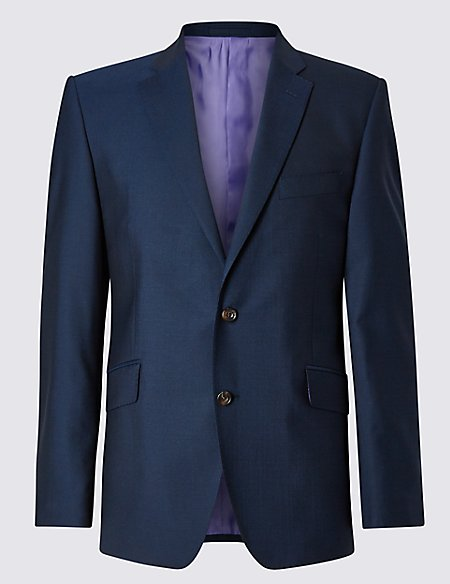 Pure New Wool Tailored Fit 2 Button Jacket