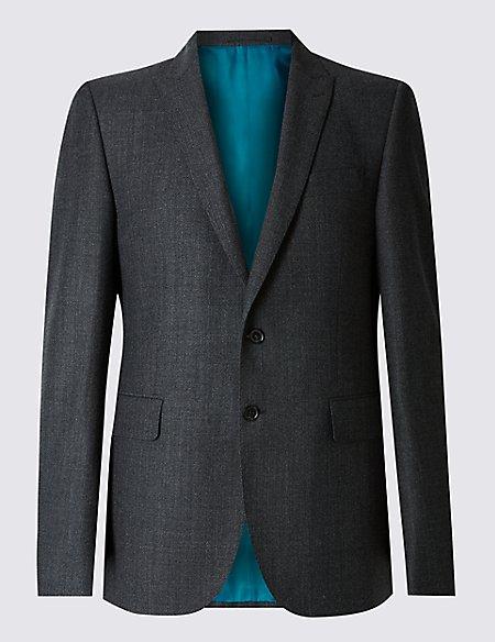 Charcoal Textured Slim Fit Wool Jacket