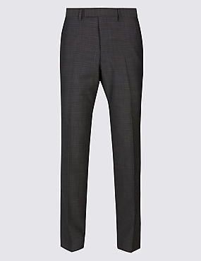 Charcoal Textured Tailored Fit Wool Trousers