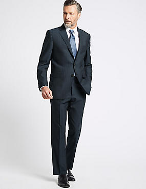 Indigo Striped Tailored Fit Wool Suit