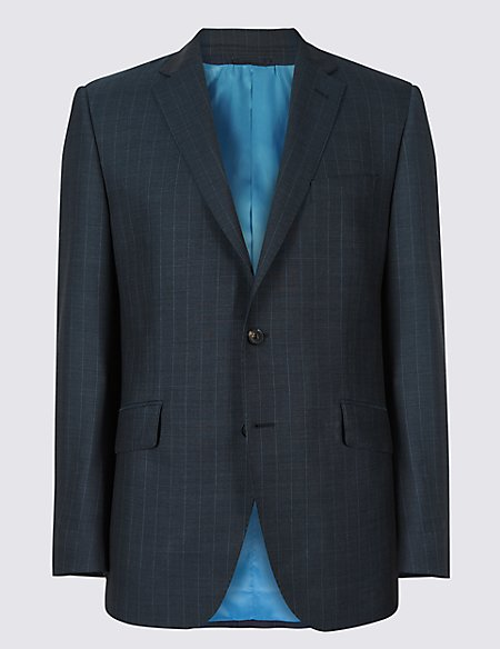 Indigo Striped Tailored Fit Wool Jacket