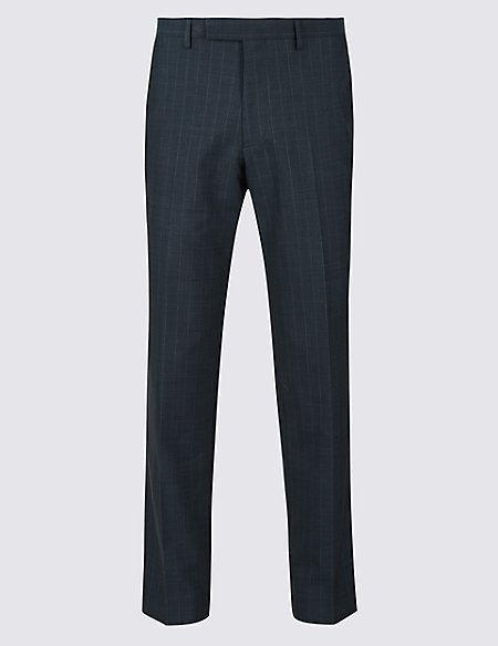 Indigo Striped Tailored Fit Trousers