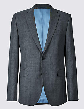 Charcoal Textured Tailored Fit Wool Jacket