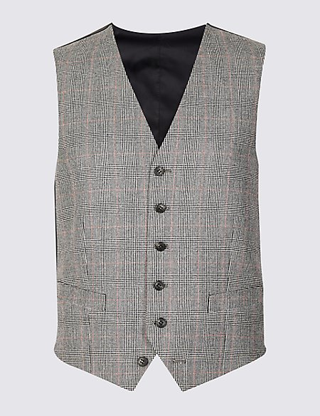 Checked Tailored Fit Wool Waistcoat