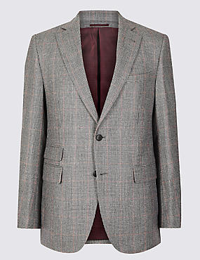 Checked Tailored Fit Wool 3 Piece Suit