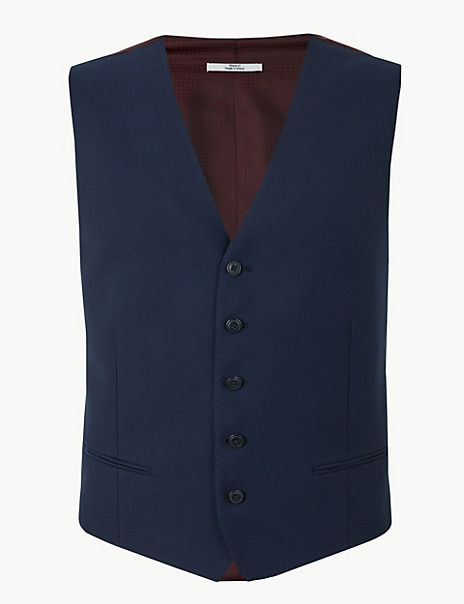 Blue Textured Tailored Fit Wool Waistcoat