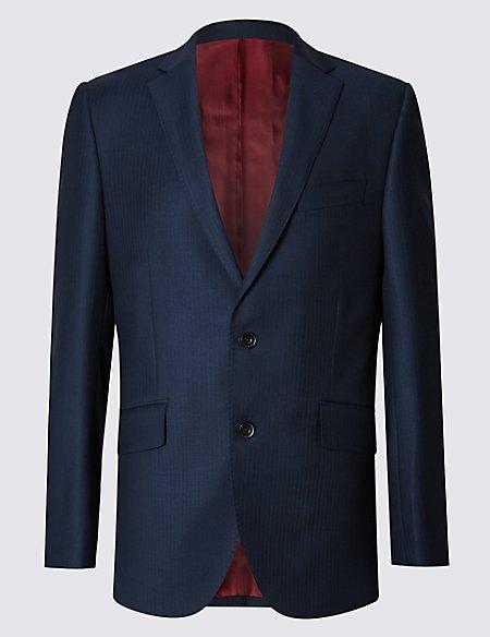 Indigo Tailored Fit Wool Rich Jacket