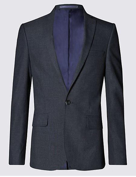 Grey Checked Superslim Single Breasted Jacket