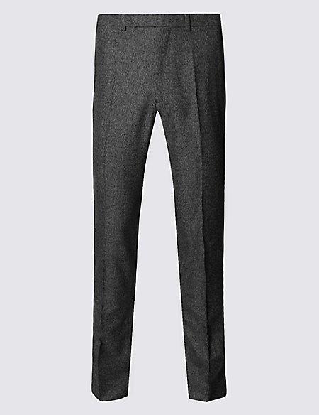 Black Textured Modern Slim Fit Trousers