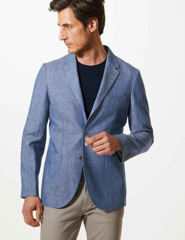 efc03bba61b Indigo Tailored Fit Linen Miracle Jacket