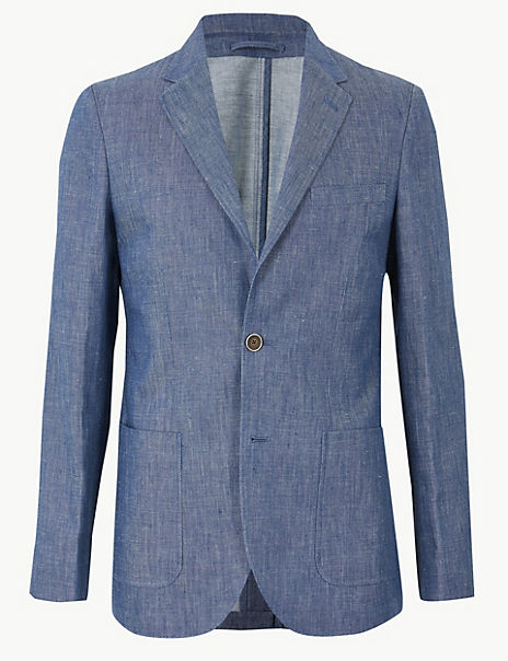 Indigo Tailored Fit Linen Miracle Jacket