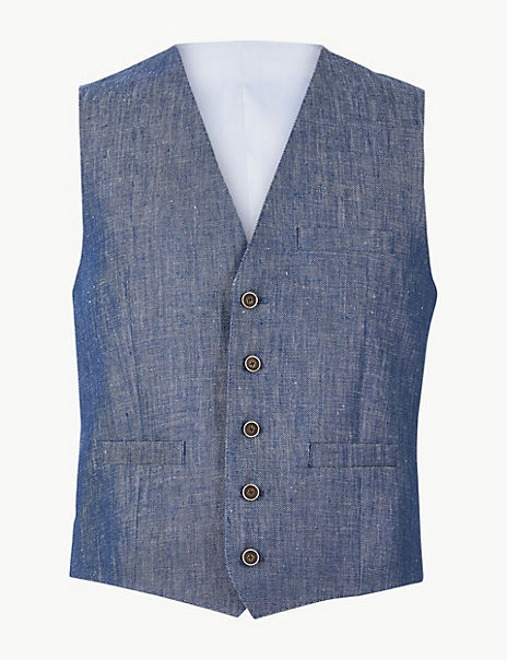 Tailored Fit Linen Miracle Waistcoat