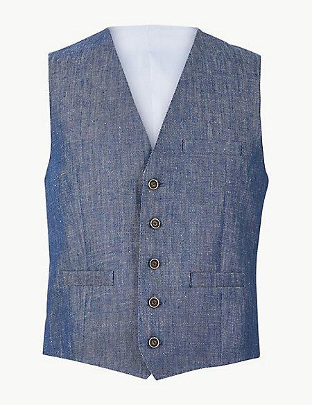 Tailored Fit Linen Waistcoat