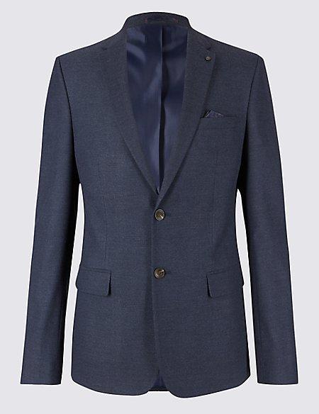 Blue Textured Slim Fit Jacket