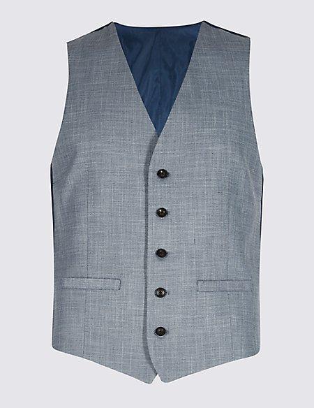 Blue Textured Modern Slim Fit Waistcoat