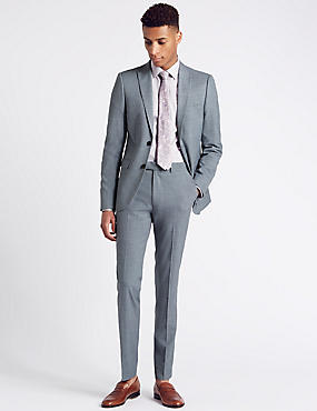 Blue Textured Modern Slim Fit Suit