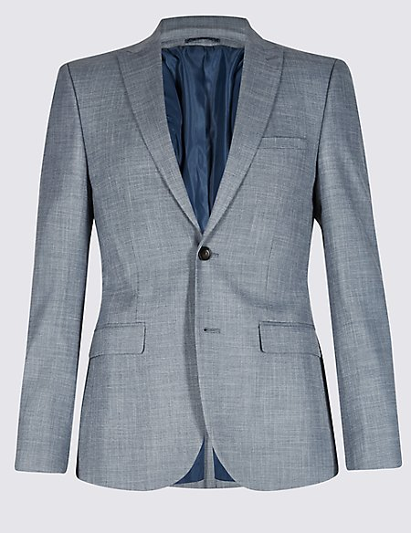 Blue Textured Modern Slim Fit Jacket