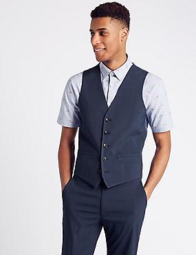 Indigo Checked Slim Fit Waistcoat