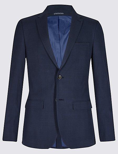 Indigo Checked Slim Fit Jacket