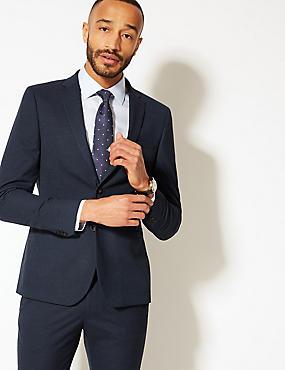 Blue Textured Modern Slim Fit Jacket