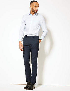 Blue Textured Modern Slim Fit Trousers