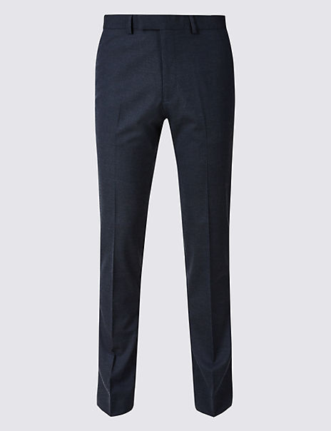 Blue Textured Skinny Fit Trousers