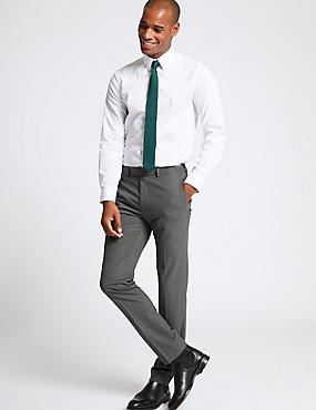 Grey Textured Modern Slim Fit Trousers