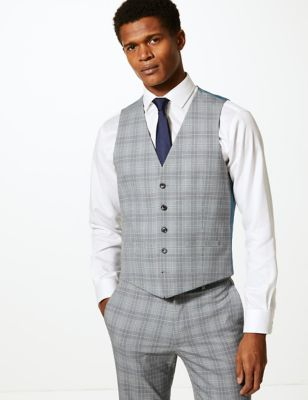 Grey Checked Skinny Fit Waistcoat