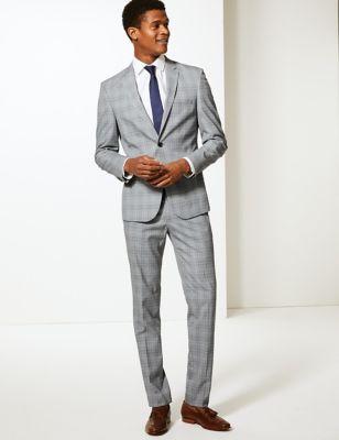 Veste grise coupe très ajustée grise à carreaux