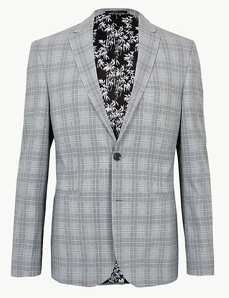 Grey Checked Skinny Fit Jacket