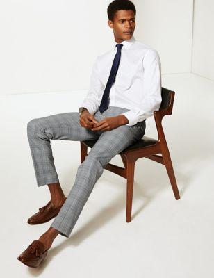 Pantalon gris coupe skinny à carreaux