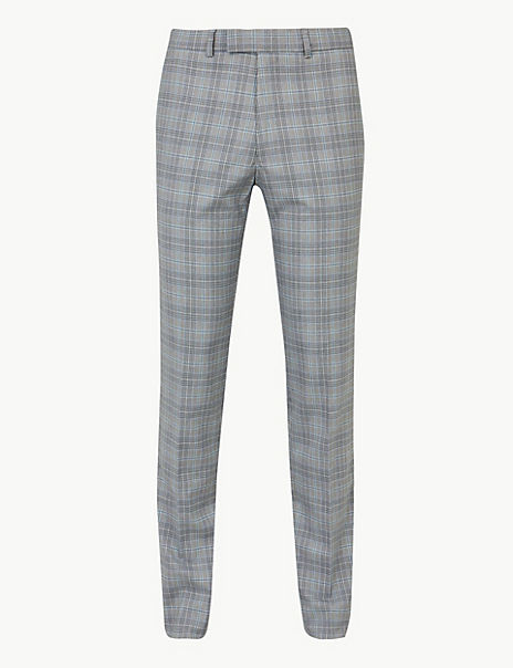 Grey Checked Skinny Fit Trousers