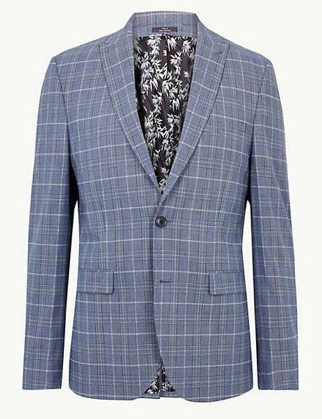 Blue Checked Skinny Fit Jacket