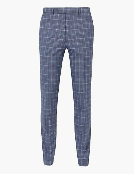 Blue Checked Skinny Fit Trousers