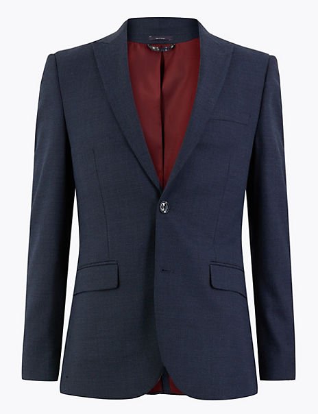 Blue Textured Skinny Fit Jacket with Stretch