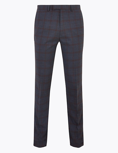 Indigo Checked Skinny Fit Trousers with Stretch