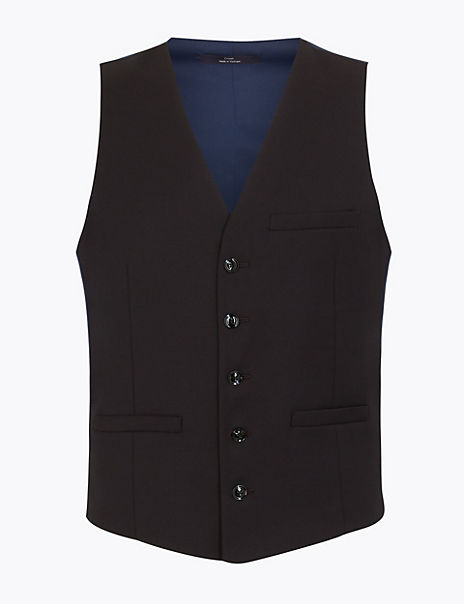 Skinny Textured Dinner Waistcoat with Stretch