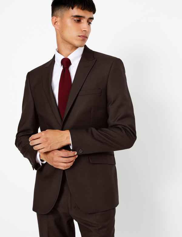 Textured Skinny Fit Jacket with Stretch