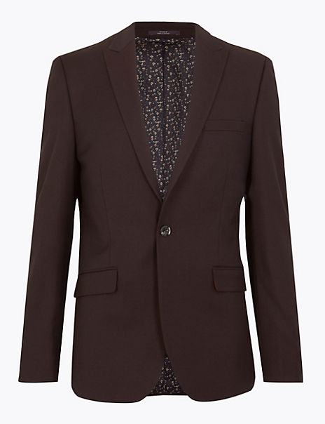 Textured Skinny Fit Dinner Jacket with Stretch